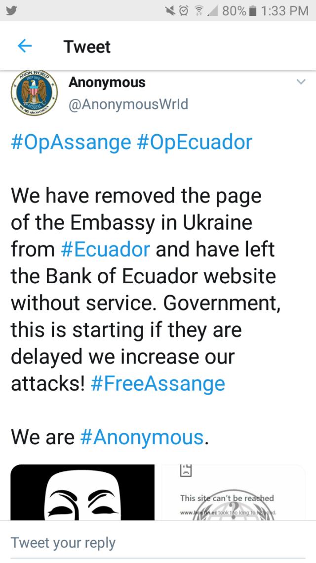 Anonymous Takes Down Ecuador After Assange Arrest – Angel